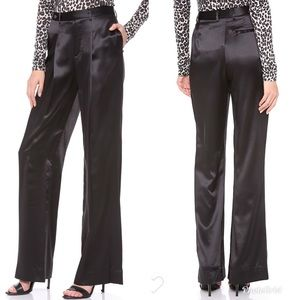 L'AGENCE Wide Leg Black Satin Dress Trouser Pant